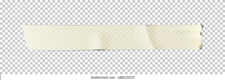 White adhesive or masking tape piece isolated on transparent background. Vector design element