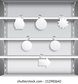 White advertising sale wobblers hanging on supermarket shelves vector illustration