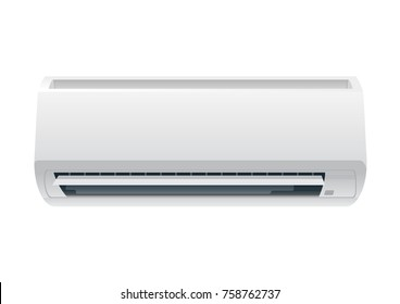 White air condition isolated on clear background in vector style. Illustration about electric equipment in house.