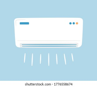 White air conditioner. Climate control concept. Hand drawn vector illustration