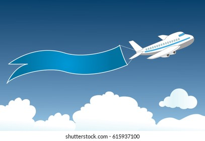 White airliner in the blue sky