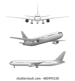 White airplane High detailed icon set. airplane in profile, from the front and 3d perspective view. isolated vector illustration of plane. Airline Concept set.