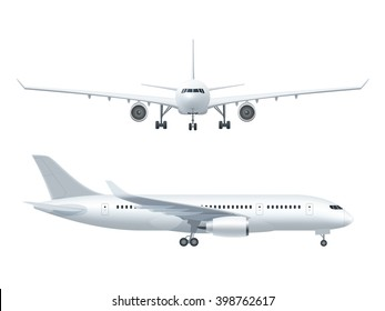 White airplane icon set  on a white background in profile and from the front isolated vector illustration