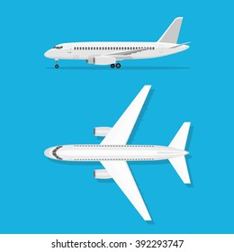 White airplane isolated on blue background. Aircraft is on the ground. Airliner. View from above and side.