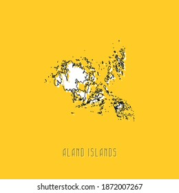 White ALAND ISLANDS country map with black outline on yellow background. Simple geographic territory template concept. Vector illustration easy to edit and customize. EPS10
