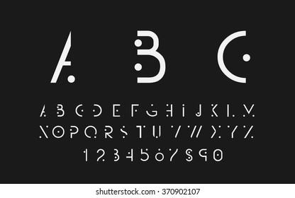 White alphabetic fonts and numbers on black background. Vector eps10 illustrator.