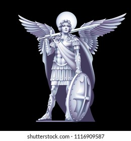White angel with a sword on a black background