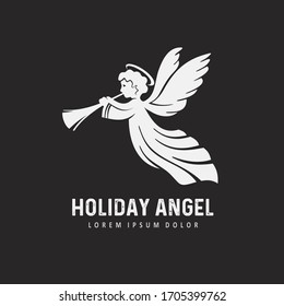 White Angel with trumpet. Christmas angel, design template