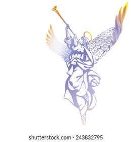 White angel with a trumpet, looking up, on a white background