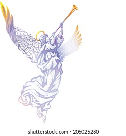 White angel with trumpet on a white background