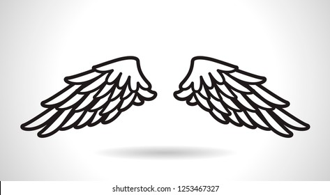 White Angel Wings icon vector