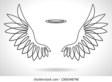 White Angel Wings line vector