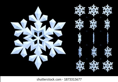 White animated snowflake. Rotating 3d icon of winter and cooling. Vector sprite sheet for GIF, html, flash animation. Looped frame sequence.15 FPS. Pieces of snow are isolated on a black background.