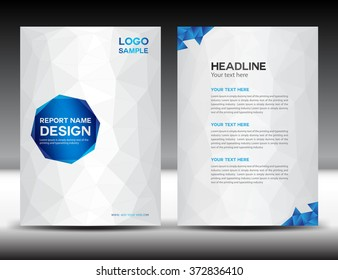 White Annual report template, brochure flyer, cover design, polygon background, portfolio, Leaflet, presentation, book, booklet, catalog, magazine ads, newsletter, poster