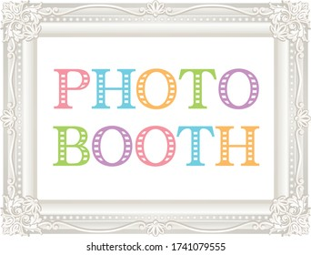 white antique frame. photo booth.