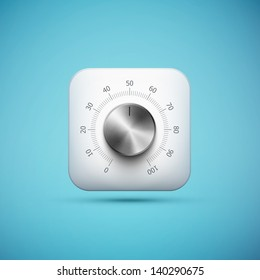 white app icon with music volume control knob, realistic metal texture, eps10 vector illustration