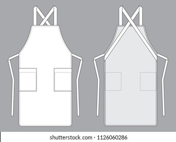 White Apron Vector : Flat View