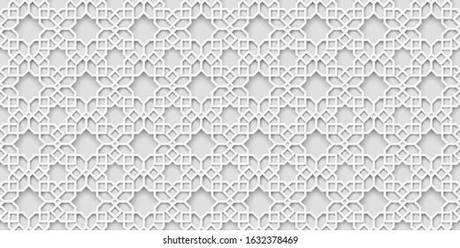 White arabic pattern, islamic background. Arabian wallpaper. Geometric ornament  3d style vector. Texture east traditional motif
