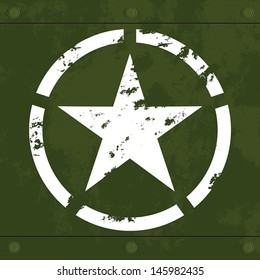 White army star on green metal with grunge texture vector