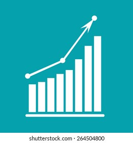 White Arrow Going Up due to Growth chart diagram. Editable EPS10 Vector and large jpg illustration