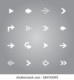 White arrow icons set collection