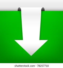 White arrow in an illuminated scene. The shadows and the green background are in gradient mesh. Separated in layers for best edition.