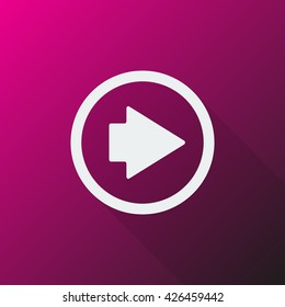 White Arrow Right icon on pink background