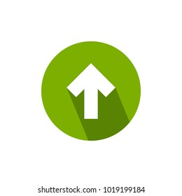 white arrow up with shadow in green circle icon. Isolated on white. Upload icon.  Upgrade sign. North pointing arrow.