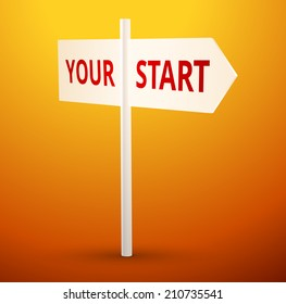 White arrow with text your start illustration