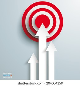 White arrows with red target on the grey background. Eps 10 vector file.