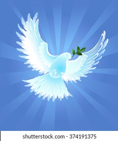 White, artistically painted dove of peace with olive branch on blue radiant background.