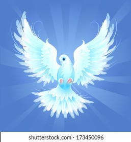 White, artistically painted, flying dove on blue radiant background.