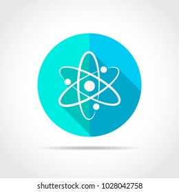 White atom in flat design with long shadow. Vector illustration. Simple atom icon on blue round button.