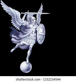 White attacking angel on a black background