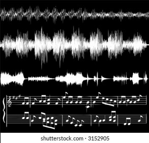 white audio waveforms and musical notes against black (also available in jpg)