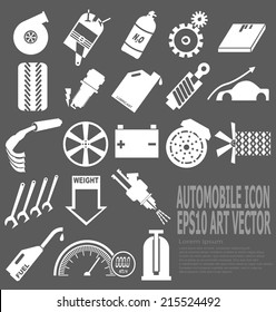 White automobile concerned icon on dark gray background (EPS10 vector)