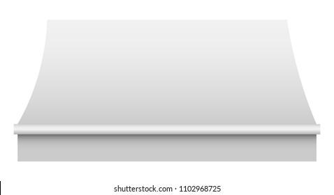 White awning mockup. Realistic illustration of white awning vector mockup for web design isolated on white background