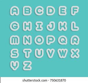 White  A B C D E F G H I J K L M N O P Q R S T U V W X Y X Z Text in Paper cut Style