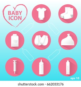 White baby  icons set on a pink circle background.
