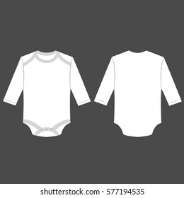 white baby long sleeve back and front bodysuit isolated vector