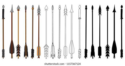 white background, arrows, set