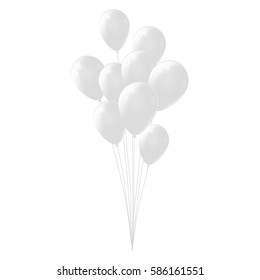 White background with white balloons, glossy balloons