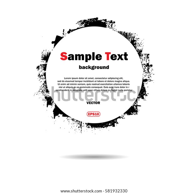White background with black grunge circle and sample text