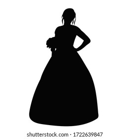 white background, black silhouette of a bride