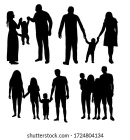 white background, black silhouette family, children and mom with dad
