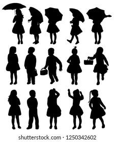 white background, black silhouette kids, set