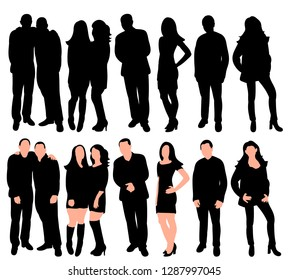 white background, black silhouette set people