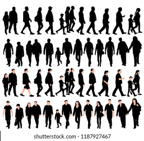 white background, black silhouette walking people, set, collection