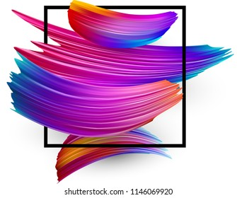 White background with black square frame and spectrum watercolor strokes. Colorful gradient brush design. Card or poster template. Vector paper illustration.