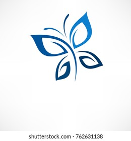 White background with blue butterfly